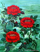 Folkartanna Art - Red Roses by Anna Folkartanna Maciejewska-Dyba
