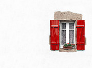 Copy-space Framed Prints - Red shuttered window on white Framed Print by Jane Rix
