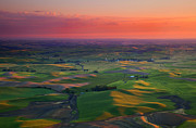 Wheatfields Photo Prints - Red Skies over the Palouse Print by Mike  Dawson