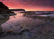 Tidepools Posters - Red Sky At Morning Poster by Mike  Dawson