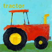 Kids Room Mixed Media Posters - Red Tractor Poster by Laurie Breen