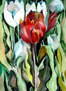 Tulips Drawings Prints - Red Tulip Print by Mindy Newman