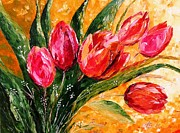 Romania Paintings - Red Tulips by AmaS Art