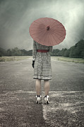 Woman Standing Posters - Red Umbrella Poster by Joana Kruse