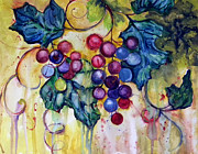 Grape Vines Framed Prints - Red Water Color Grapes Framed Print by Peggy Wilson