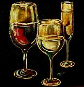 Wine Glasses Mixed Media - Red White and Bubbly by Vickie Warner