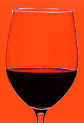 Gourmet Art Prints - Red Wine Glass Print by Frank Tschakert