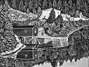 Reflections Of Sky In Water Prints - Reflections B W Print by Barbara Griffin