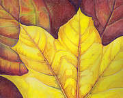Yellow Leaves Pastels Prints - Releaf Print by Amy Tyler