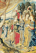 Art Roman Prints - Renaissance Tapestry Detail Print by Photo Researchers