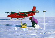 Gps Posters - Researcher Measures The Flow Rate Of A Glacier Poster by David Vaughan