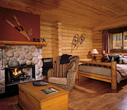 Cabin Window Prints - Resort Log Cabin Interior Print by Robert Pisano