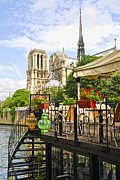Notre Dame Cathedral Prints - Restaurant on Seine Print by Elena Elisseeva
