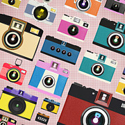 Photography Digital Art Prints - Retro Camera Pattern Print by Setsiri Silapasuwanchai