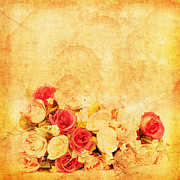 Roses Photo Prints - Retro Flower Pattern Print by Setsiri Silapasuwanchai