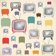 Communication Digital Art Prints - retro TV pattern  Print by Setsiri Silapasuwanchai