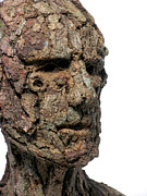 Surrealistic Mixed Media Prints - Revered A natural portrait bust sculpture by Adam Long Print by Adam Long