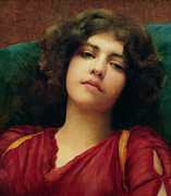 Indoors Painting Framed Prints - Reverie Framed Print by John William Godward