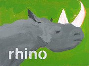 Animals Mixed Media Originals - Rhinoceros by Laurie Breen