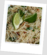 Noodles Framed Prints - Rice Noodles With Turkey And Lime Framed Print by Anne Babineau