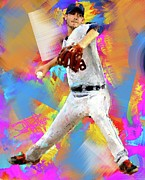Baseball Painting Metal Prints - Rick Porcello Metal Print by Donald Pavlica
