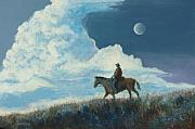 Moonlight Paintings - Rider Against the Sky by Jerry McElroy