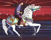 Gary Giacomelli Painting Posters - Riding the carousel Poster by Gary Giacomelli