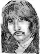 George Harrison Drawings - Ringo Starr by Daniel Scott