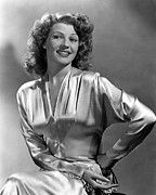 Satin Dress Posters - Rita Hayworth, Portrait Poster by Everett