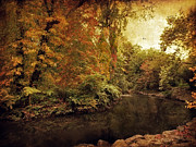 Autumn Landscape Digital Art Framed Prints - River Bend Framed Print by Jessica Jenney