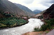 Sacred Pastels Posters - River Urubamba through the Sacred Valley of the Incas Poster by Ronald Osborne