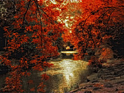 Fall Landscape Digital Art - Riverbank Red by Jessica Jenney