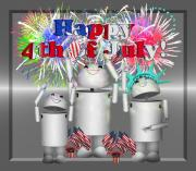 Robo-x9 Mixed Media - Robo-x9 Celebrates Freedom by Gravityx Designs