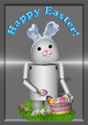 Ears Mixed Media Metal Prints - Robo-x9 the Easter Bunny Metal Print by Gravityx Designs