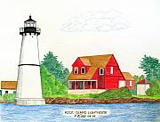 Pen And Ink Drawings - Rock Island Lighthouse by Frederic Kohli