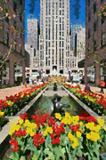 City Flowers Paintings - Rockefeller Plaza by George Atsametakis