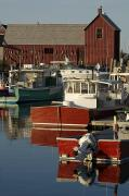 Row Boat Prints - Rockport Harbor With Lobster Fishing Print by Tim Laman