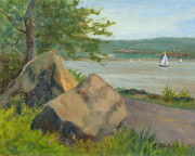 Boats In Water Paintings - Rocks Along the Nyack Trail by Phyllis Tarlow