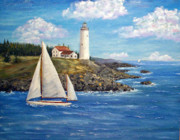 Maine Paintings - Rocky Shore by Stanton Allaben