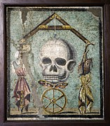 Tiled Framed Prints - Roman Memento Mori Mosaic Framed Print by Sheila Terry
