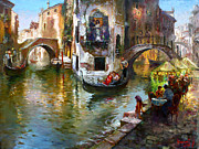 Bride And Groom Paintings - Romance in Venice by Ylli Haruni