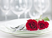 Rose Flower Photos - Romantic dinner setting by Elena Elisseeva