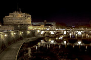 Night Angel Posters - Rome ponte san angelo Poster by Joana Kruse