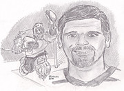 Goaltender Drawings - Ron Hextall by Chris  DelVecchio