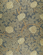 Summer  Tapestries - Textiles Metal Prints - Rose Metal Print by William Morris