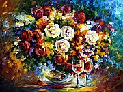 Wine Canvas Paintings - Roses and Wine by Leonid Afremov