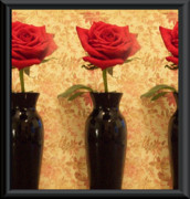 Red Wallpaper Posters - Roses In A Row Poster by Marsha Heiken