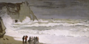 Crowd Painting Prints - Rough Sea at Etretat Print by Claude Monet