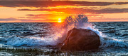 New England Sunset Posters - Rough Sea Poster by Bill  Wakeley