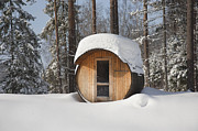 Sauna Framed Prints - Round Barrel Sauna in the Snow Framed Print by Jaak Nilson
